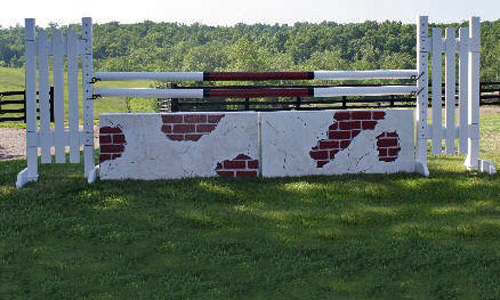 brick wall horse jump with Dapple Equine durable horse jump cups
