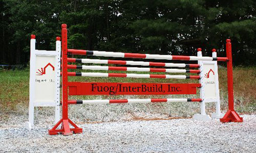 Fuog/InterBuild sponsored horse jump with Dapple Equine horse jump cups