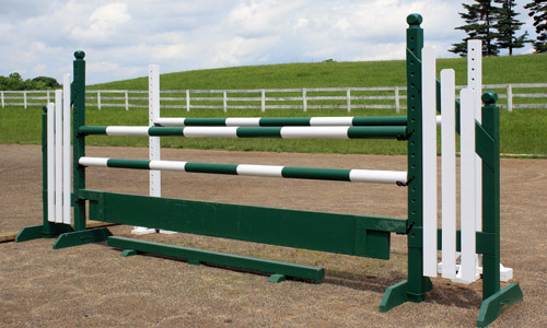 green and white horse jump with Dapple Equine horse jump cups