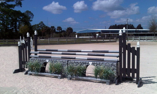 aqueduct horse jump with Dapple Equine one piece horse jump cups