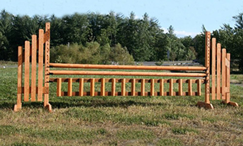 natural finish horse jump gate with Dapple Equine durable horse jump cups