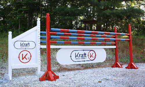 Kraft K sponsored horse jump with Dapple Equine horse jump cups