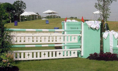 Tiffany and Co horse jump with Dapple Equine horse jump cups
